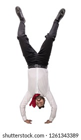 man upside down isolated on white