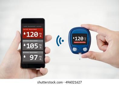 Man using application for diabetes. diabetic diabet diabetes application smartphone send measure memory concept