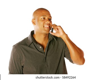 Man using Cell Phone on isolated background