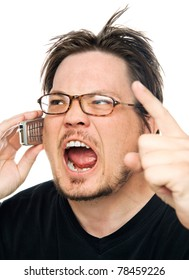 a man using a cell phone on a white background