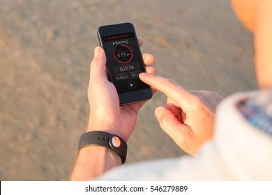 Man using fitness app