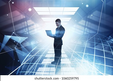 Man using laptop on abstract city background with mesh globe. Global business and technology concept. Double exposure