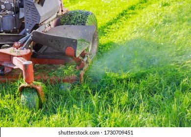 Man using a lawn mower a gardener cutting grass by lawn mower
