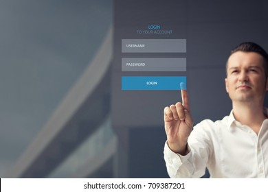 Man using login interface on touch screen. Touching login box, username and password inputs on digital display. Copy space.