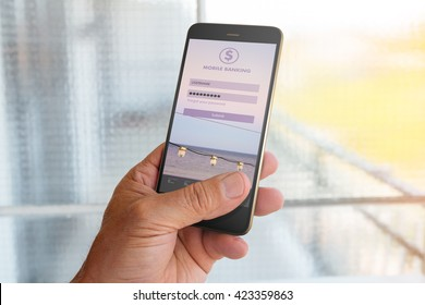 Man using mobile banking