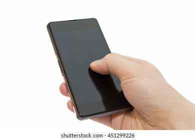 a man using mobile smart phone isolated on white background