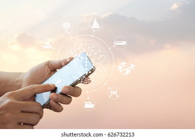 Man using mobile travel online and icon network connection on screen, traveler concept, all on mobile screen are designed up