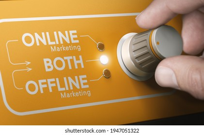 Man using a rotary knob to switch strategies and to select both online and offline marketing channels. Composite image between a hand photography and a 3D background.