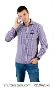 Man using smart phone isolated on white background