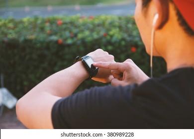 Man using smart watch app.Social media concept.