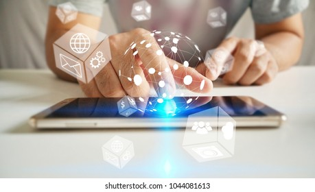 man using smartphone with icons interface on screen, Social media, connect to the future concept.