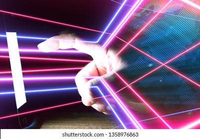 Man using smartphone with neon light coming out