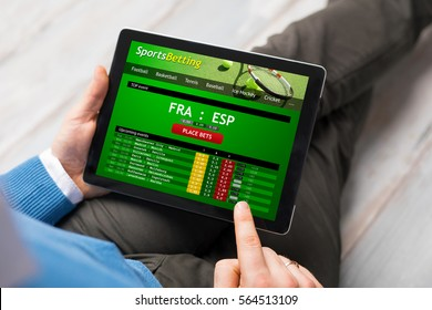 Man using sports betting app
