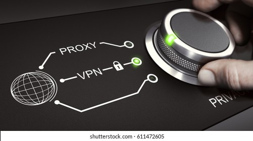 Man using a switch to select a secure VPN connection. Virtual Protection Network and online privacy concept. Composite image between a hand photography and a 3D background.