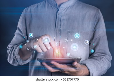 Man using tablet to connection with social media