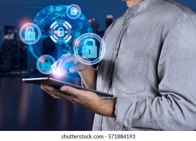 man using tablet  with Cyber Security