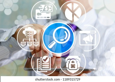 Man using tablet pc offers a magnifying glass icon on a virtual interface. Data Analyzing Business Technology concept.  Structuring Binary Information Search and Analytics.