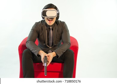 Man using virtual reality glasses.Close side view,white background.