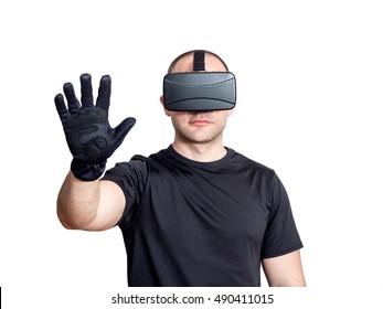 Man using virtual reality headset and touching virtual interface isolated on white background