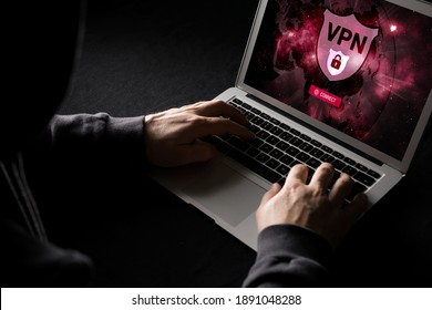 Man using VPN (Virtual Private Network) so surf internet anonymous