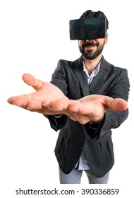 Man using VR glasses holding something