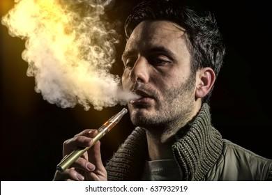 man vaping electronic cigarette, e cig, ecigarette, pen.