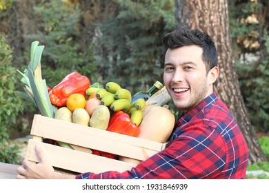 Man with very healthy grocery cart