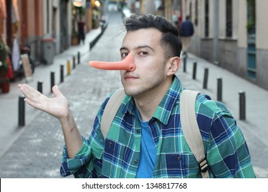 Man with a very long nose