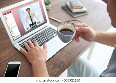Man video conferencing with lawyer on laptop. Video call and online service concept.