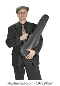 man with violin case on white background