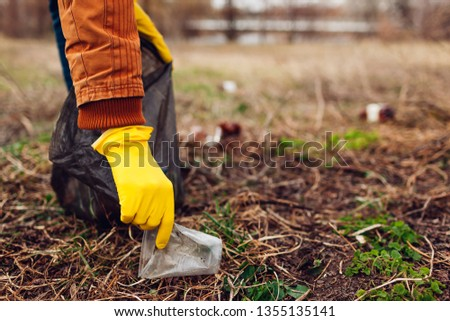 Man Volunteer Cleaning Trash Park Picking Stock Photo (Edit