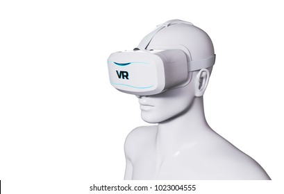 Man in VR Goggles on White Background. 3D illustration