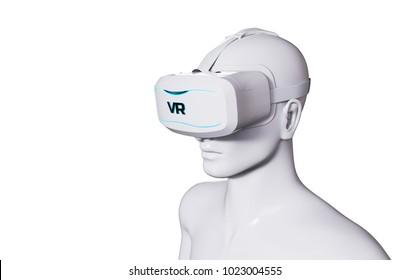 Man in VR Goggles on White Background. 3D illustration