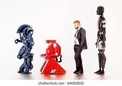 A man waiting in a line between robots. 3d rendering.