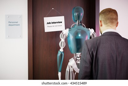 A man waiting in line with robot for a job interview. 3D rendering.