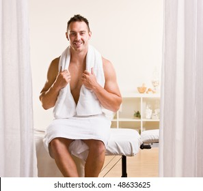 Man waiting for massage