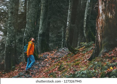 Man walking alone in deep forest Travel healthy active lifestyle adventure vacations outdoor exploring wilderness