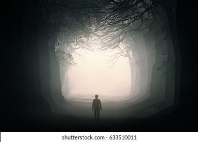 man walking in a dark forest; 3d illustration