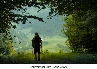 A man walking from the forest into the valley. From the darkness into the light concept. Natural green frame. Single man with the backpack in the woods. Active rest. Slovakia