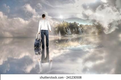 Man is Walking to Heavenly Kingdom