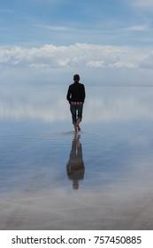 Man Walking into Wilderness, Salar De Uyuni, Bolivia