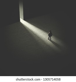 man walking in the night following light, open door concept