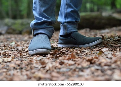 Man Walking on Dry leaves