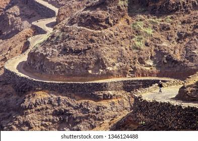 Man walking on a rural road near Fontainha on Santo Antao island, Cabo Verde