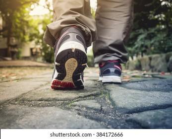 Man Walking on trail Track Outdoor Adventure