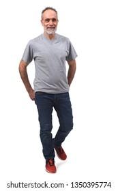 man walking on white