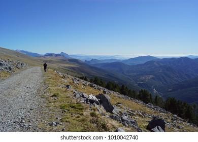 Man walking at Parque nacional de Ordesa y Monte Perdido, Aragón, Spain