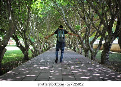 Man walking in the passage of Plumeria tunnel at nan, Thailand