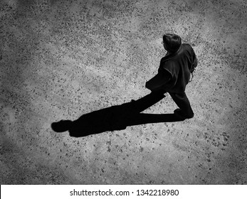 Man walking with shadow representing progress and achievement in moving forward
