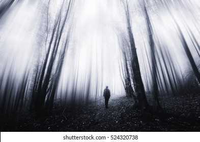 man walking in a surreal forest